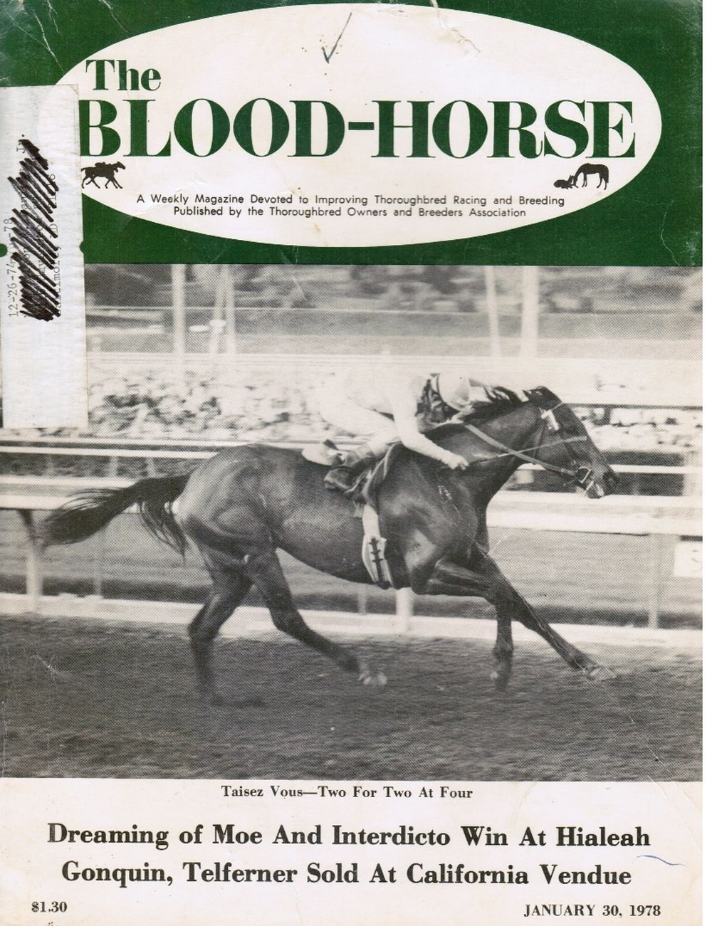 Image for The Blood-Horse: January 30, 1978 Taisez Vous, Cover