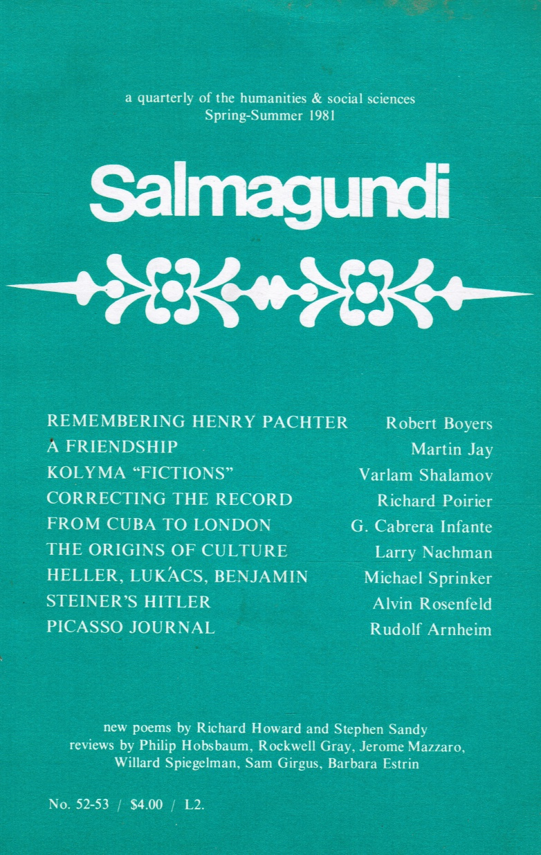 Image for Salmagundi, No 52-53 ; Spring-Summer 1981