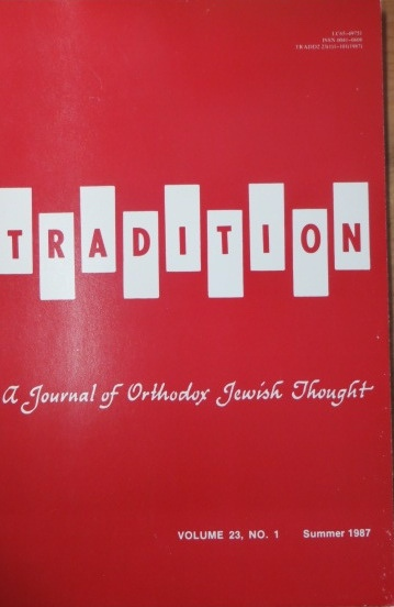 Image for Tradition: a Journal of Orthodox Jewish Thought: Vol 23, No 1, Summer 1987