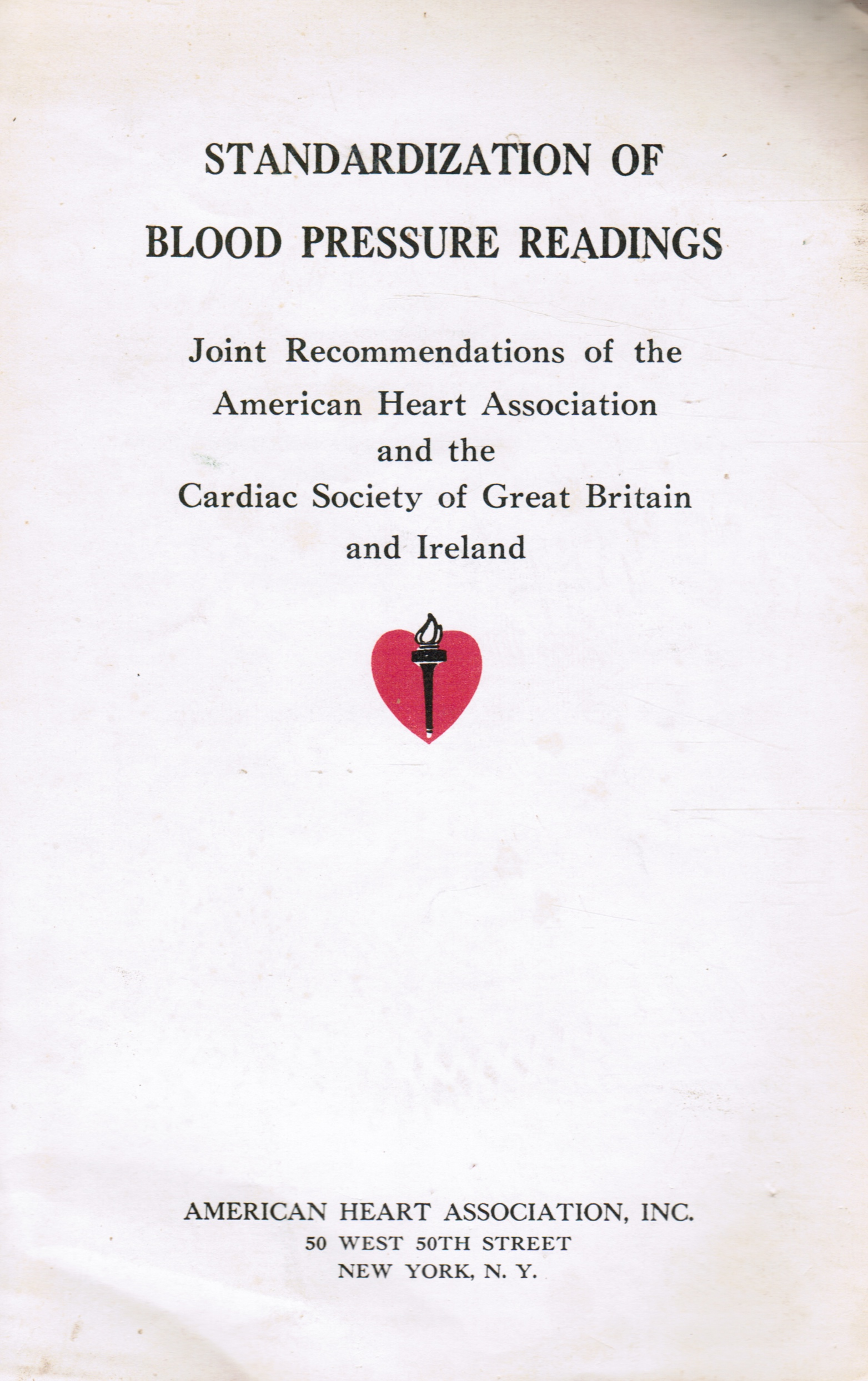 Image for Standardization of Blood Pressure Readings: Joint Recommendations of the American Heart Association and the Cardiac Society of Great Britain and Ireland