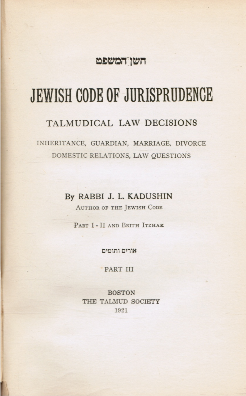 Image for Jewish Code of Jurisprudence Talmudical Law Decision Inheritance, Guardian, Marriage, Divorce, Domestic Relations, Law Questions Part III Only