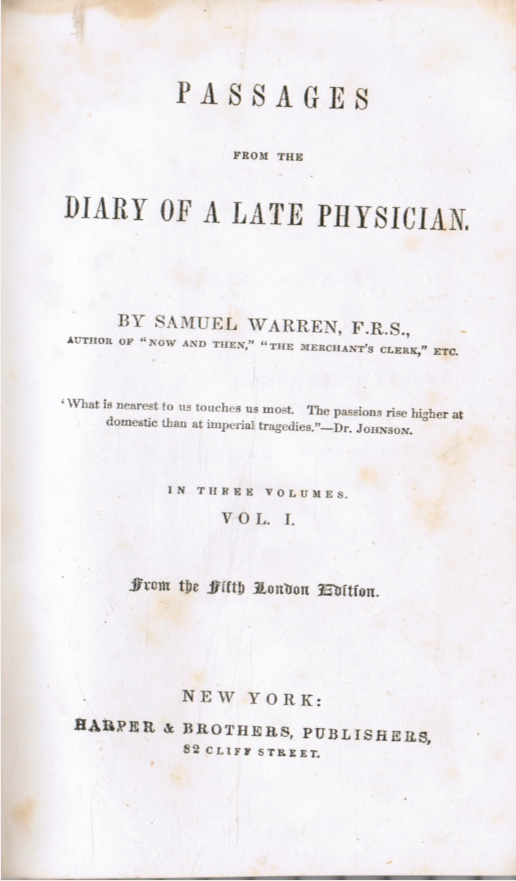 Image for Passages from the Diary of a Late Physician: Vol 1