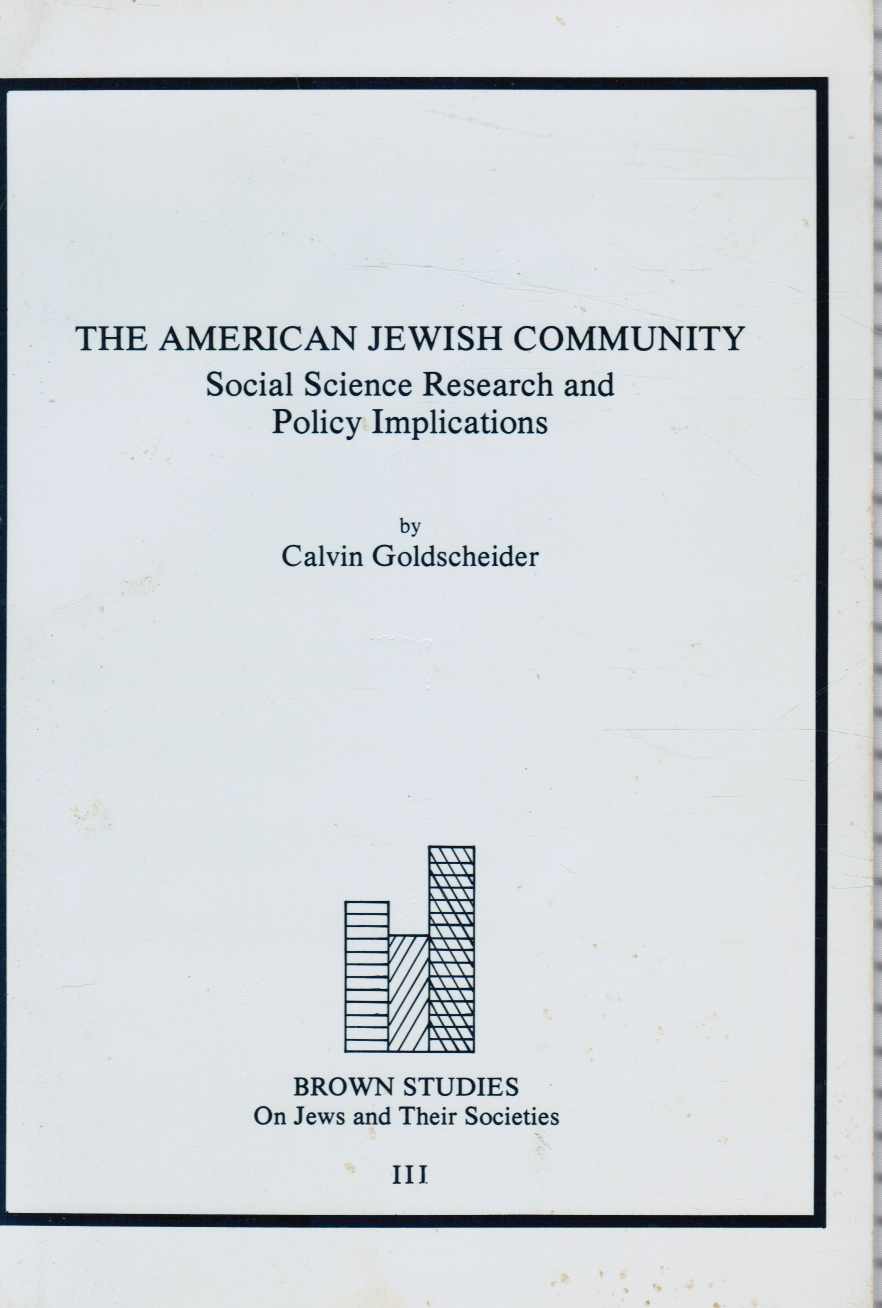 Image for The American Jewish Community: Social Science Research and Policy Implications