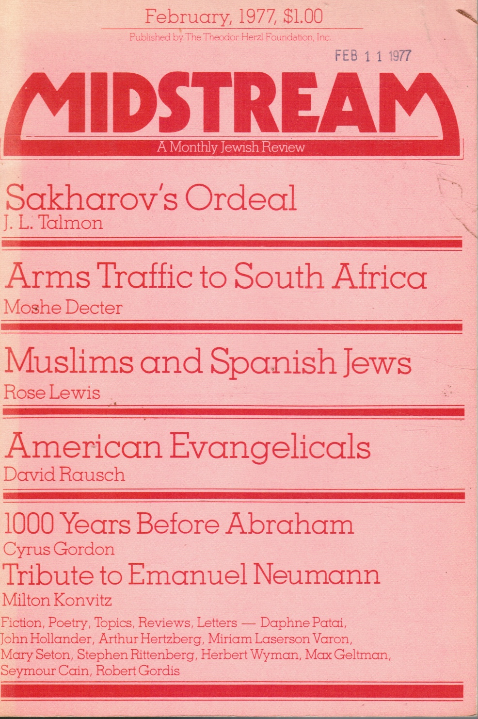 Image for Midstream: a Monthly Jewish Review - February 1977 Muslims and Spanish Jews (Feature)