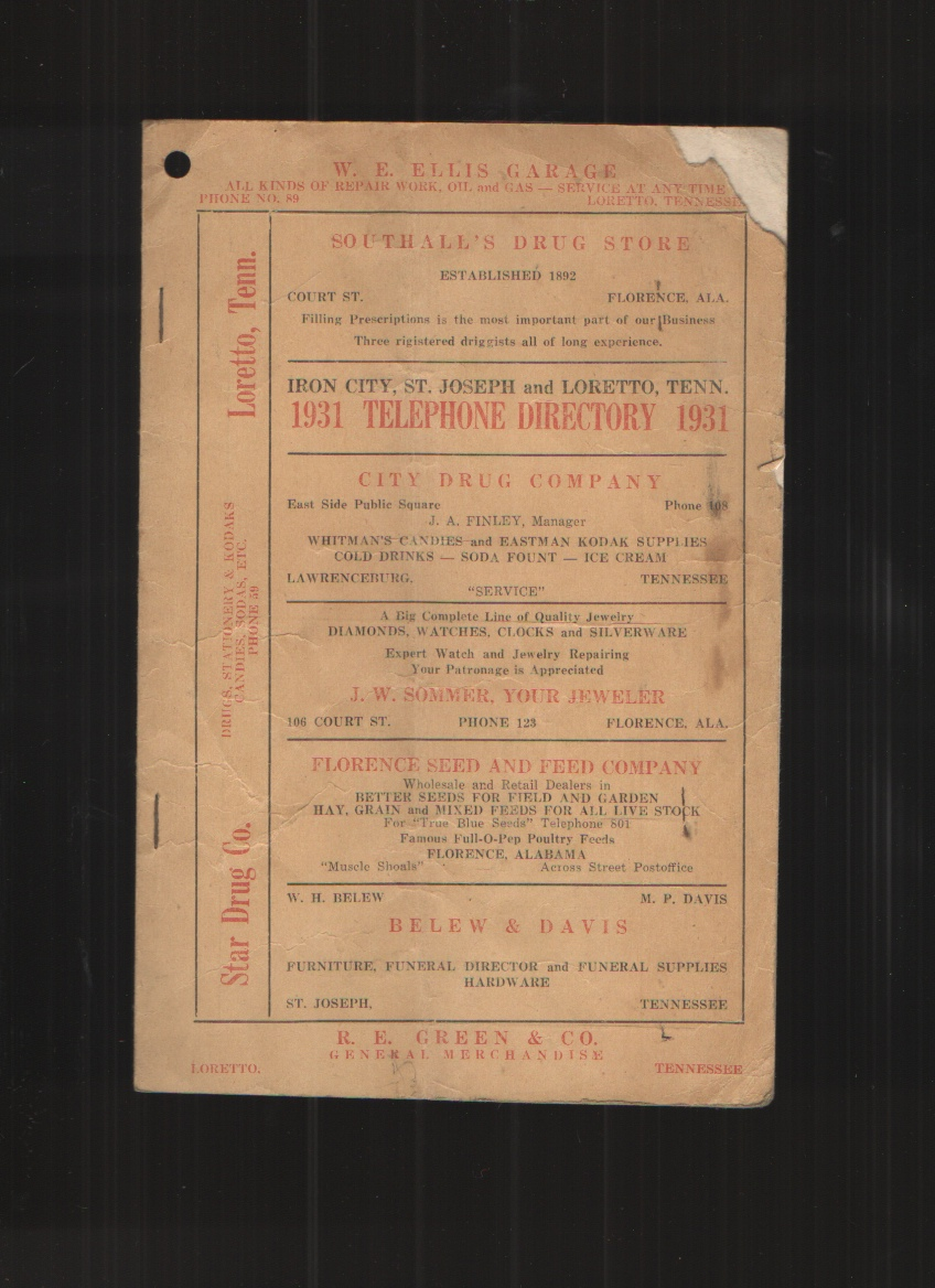 Image for 1931 Telephone Directory for Iron City, St. Joseph and Loretto, Tennessee