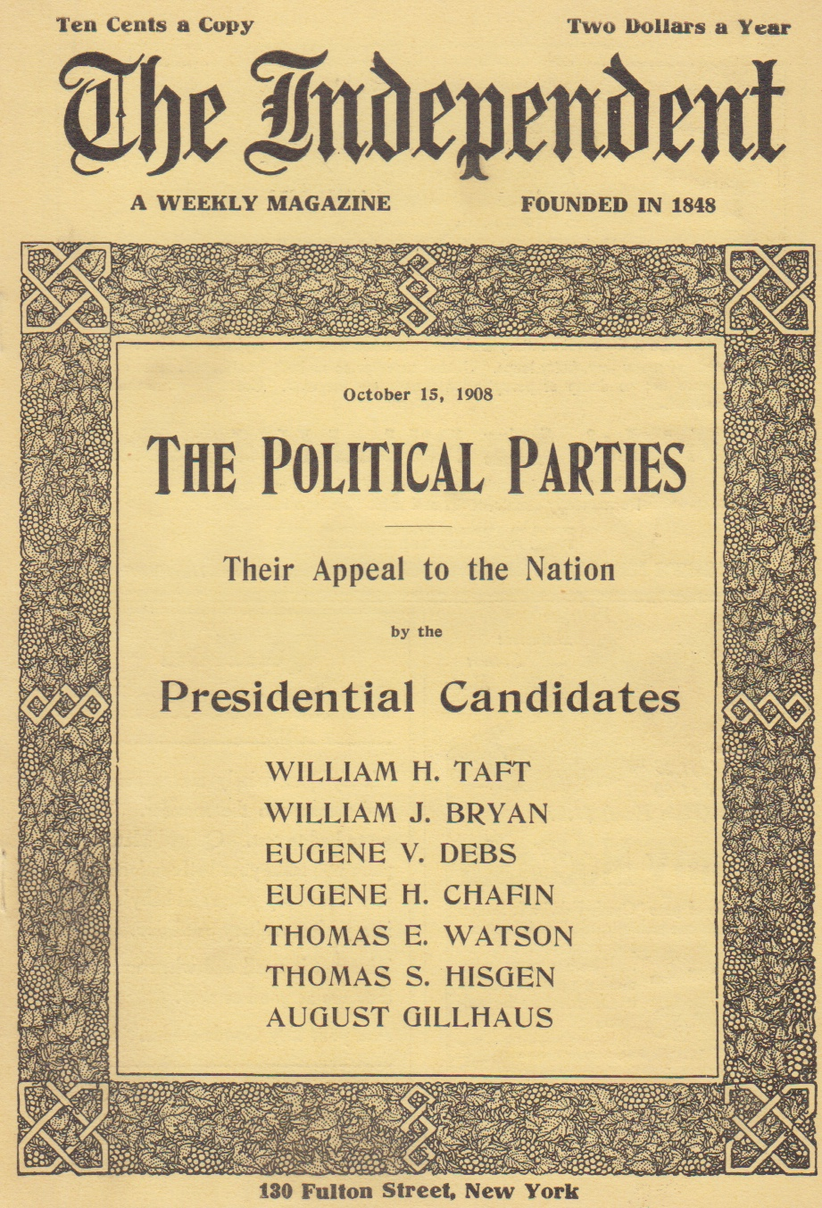 """Image for """"The Socialist Party's Appeal"""" in The Independent, A Weekly Magazine (October, 1908) [and] (October 24, 1912) [two issues]]"""