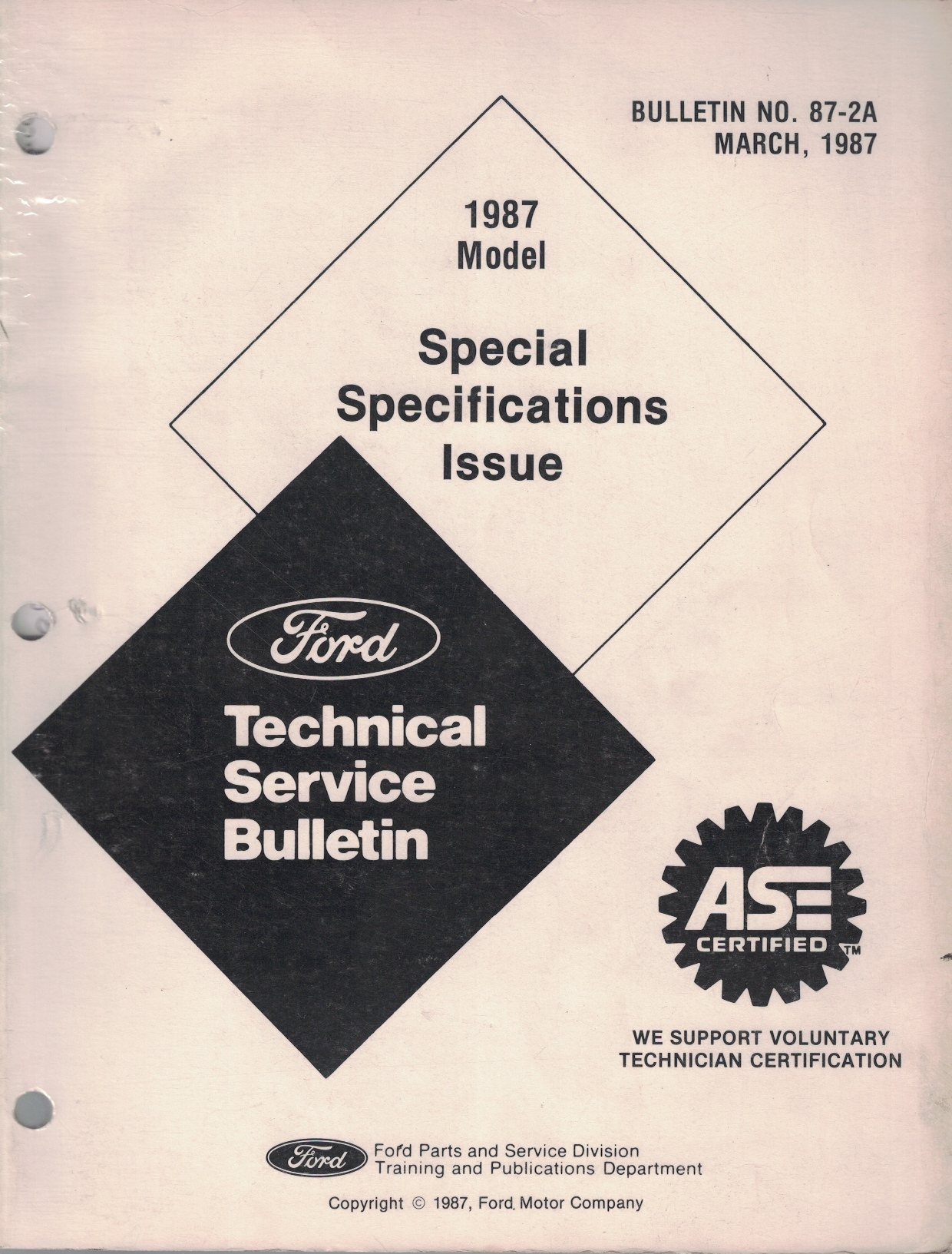 Image for 1987 Ford Technical Service Bulletin, Special Specifications Issue: Bulletin No. 87-2A; March, 1987