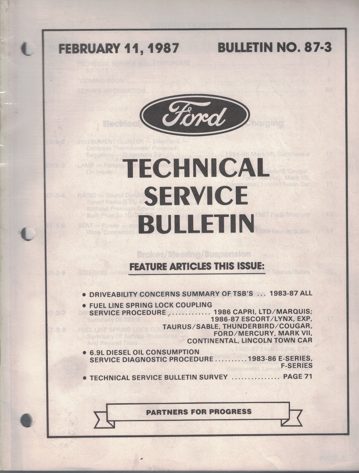 Image for 1987 Ford Technical Service Bulletin: Bulletin No. 87-3; February 11, 1987