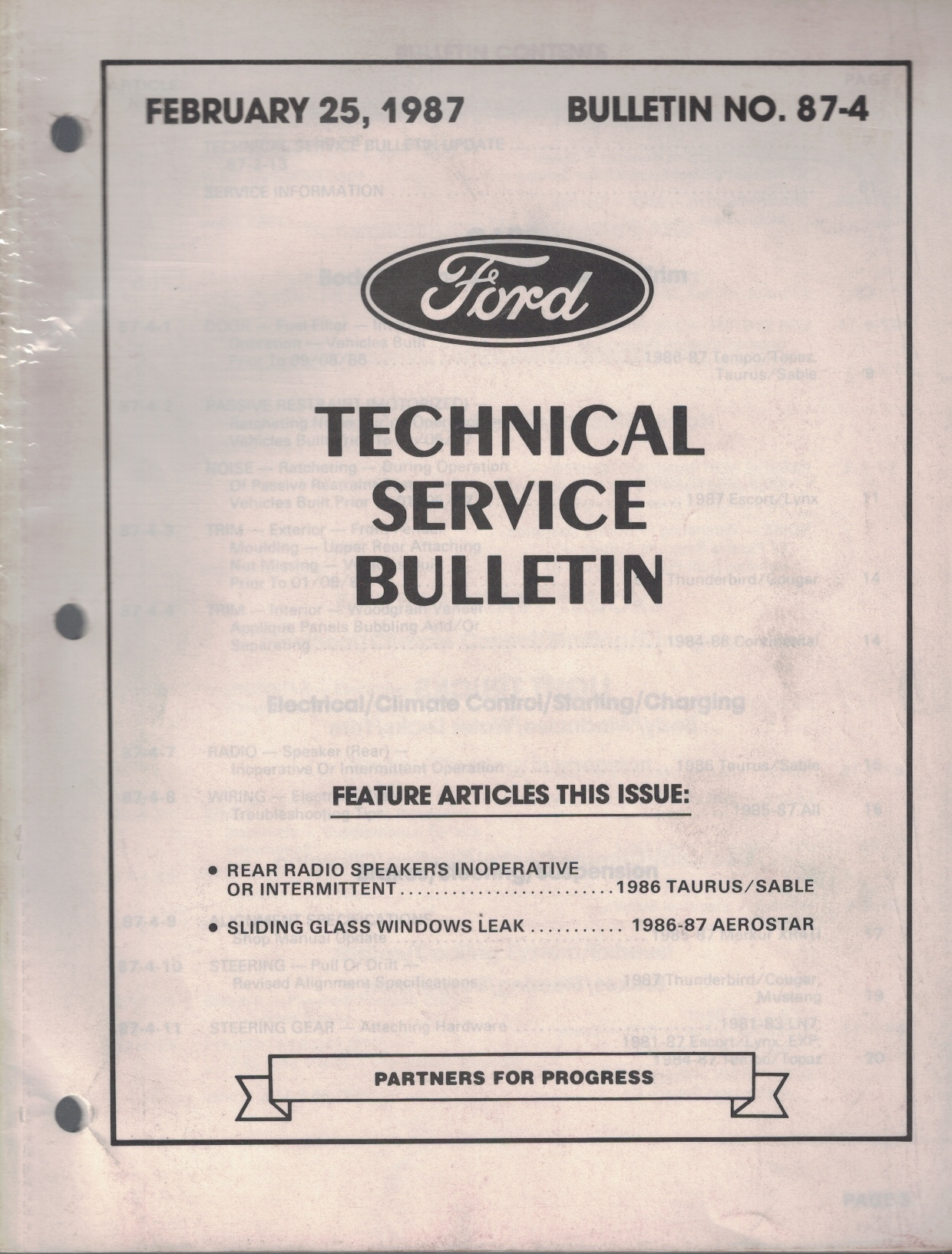 Image for 1987 Ford Technical Service Bulletin: Bulletin No. 87-4; February 25, 1987