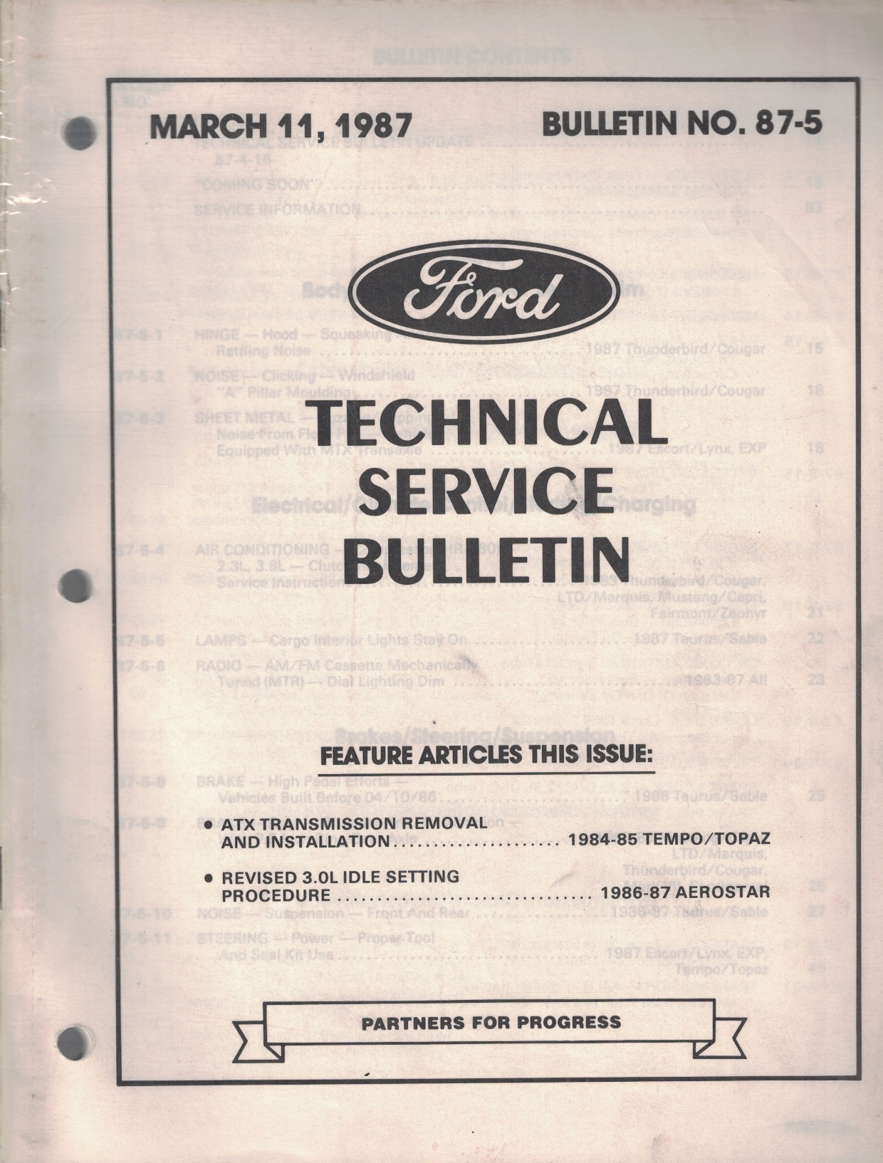 Image for 1987 Ford Technical Service Bulletin: Bulletin No. 87-5; March 11, 1987