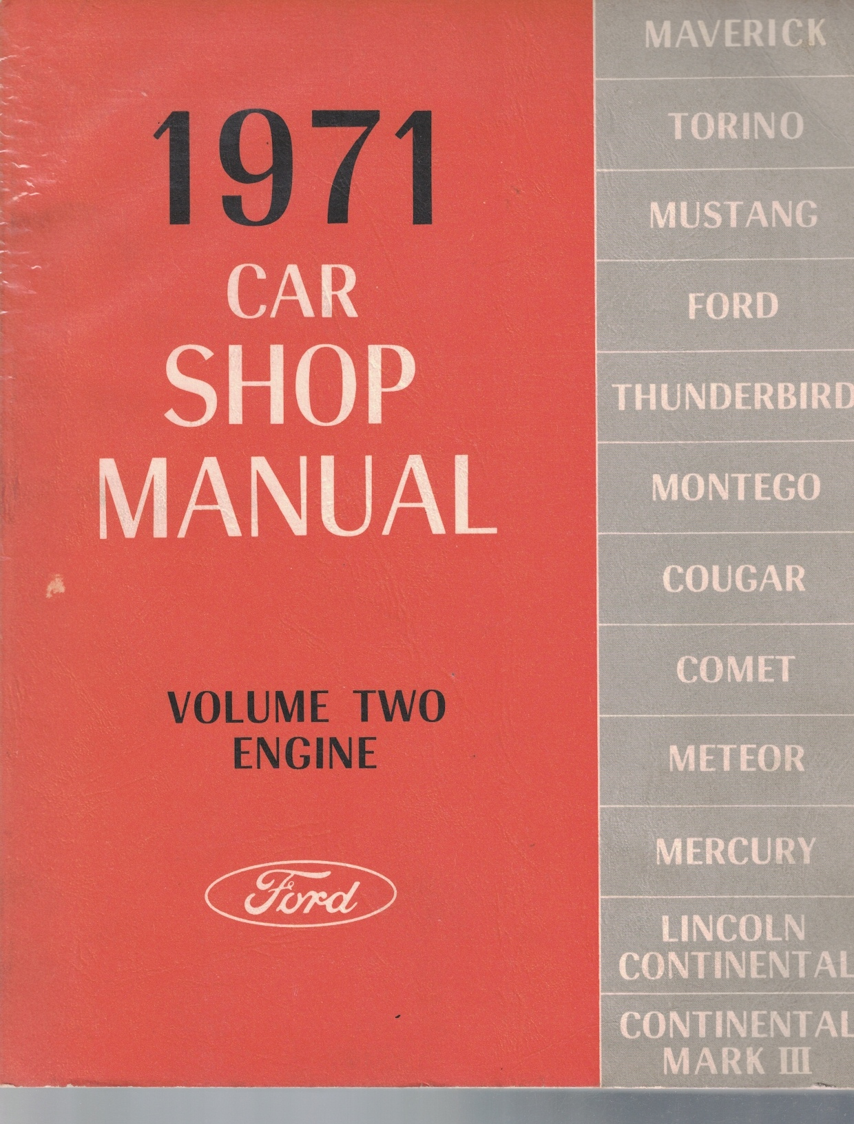 Image for 1971 Ford / Mercury / Lincoln Car Shop Manual, Volume 2: Engine [Original Service Manual] [One Volume Only]