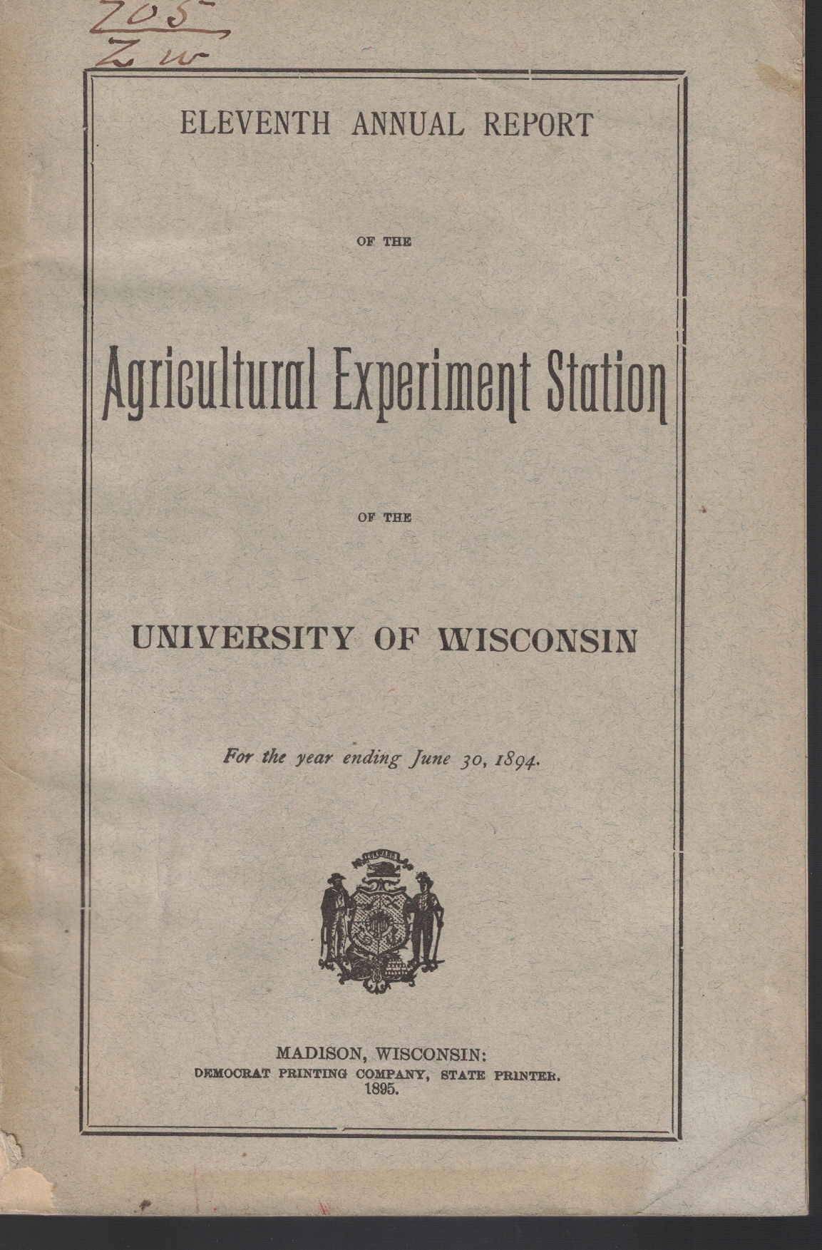 Image for Eleventh Annual Report of the Agricultural Experiment Station of the University of Wisconsin, For the Year Ending June 30, 1894