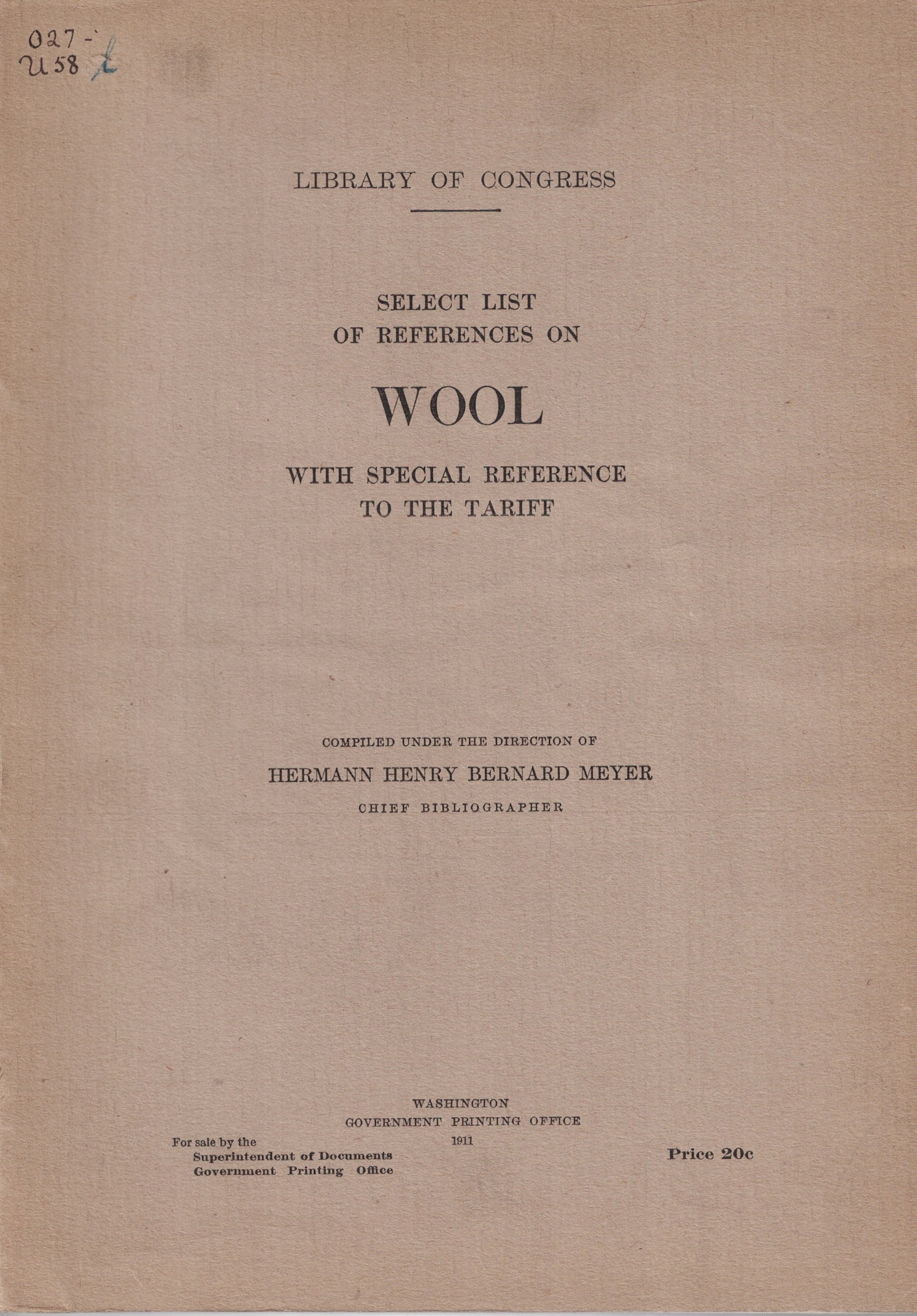 Image for Select List of References on Wool, with Special Reference to the Tariff (Library of Congress)