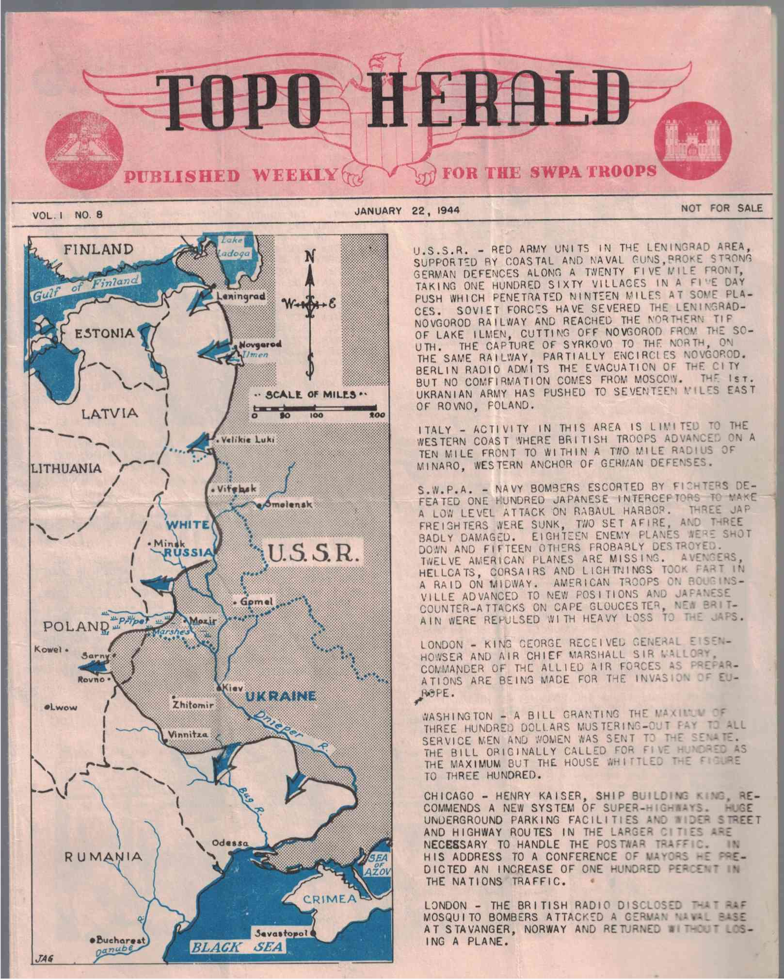 Image for TOPO HERALD (Published Weekly for the SWPA Troops); Vol. 1, No. 8, January 22, 1944