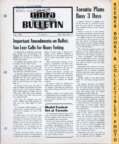 Image for NMRA Bulletin Magazine, July 1953 (19th Year No. 11): Official Publication of the National Model Railroad Association Series